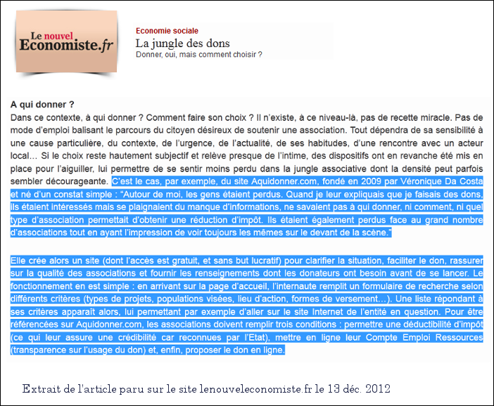 aquidonner, comparateur associations caritatives gratuit, sur le nouvel economiste de decembre 2012 :)